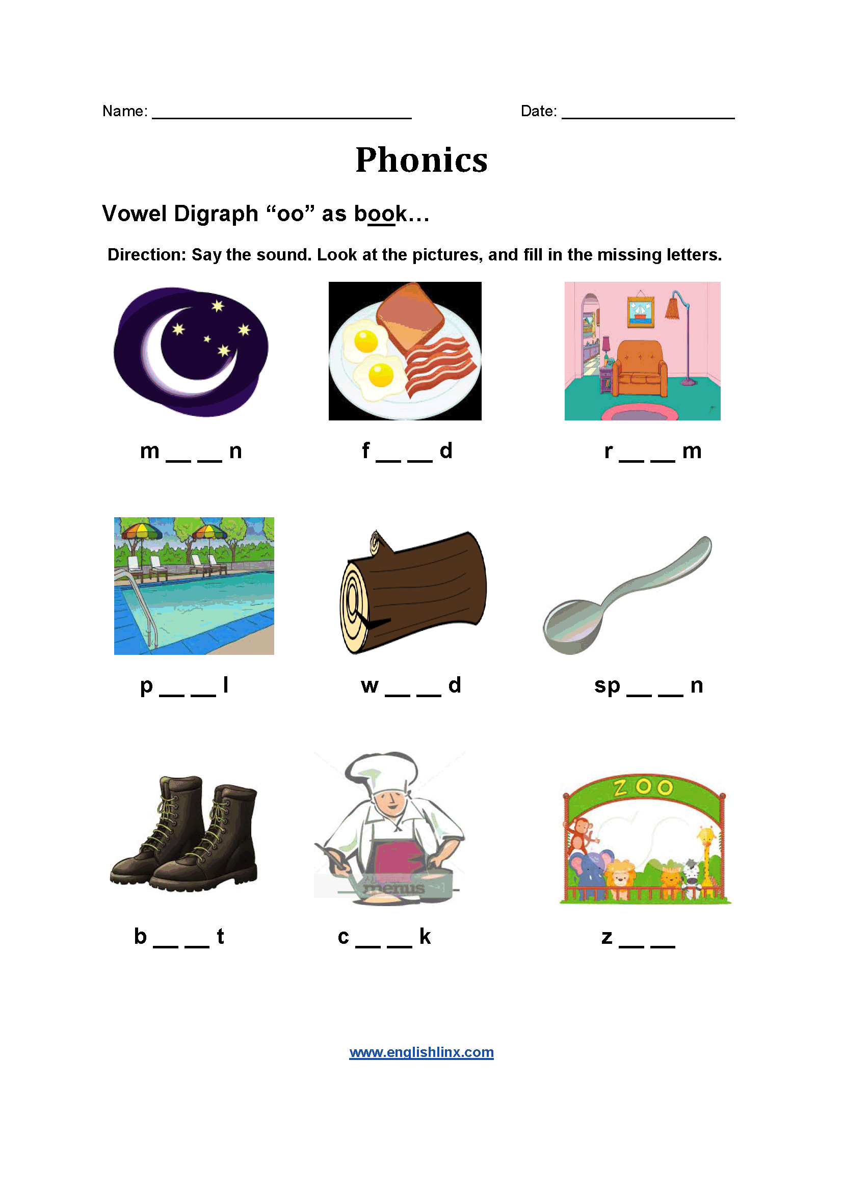 Vowel Digraph Worksheets