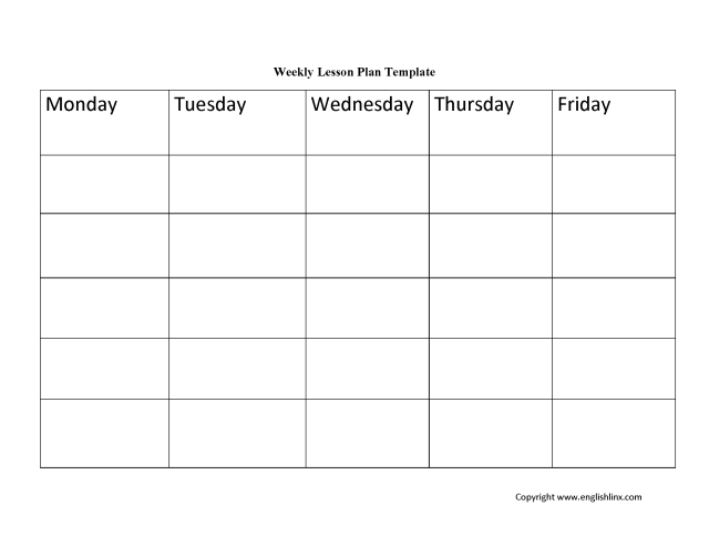 blank weekly lesson plan template free download