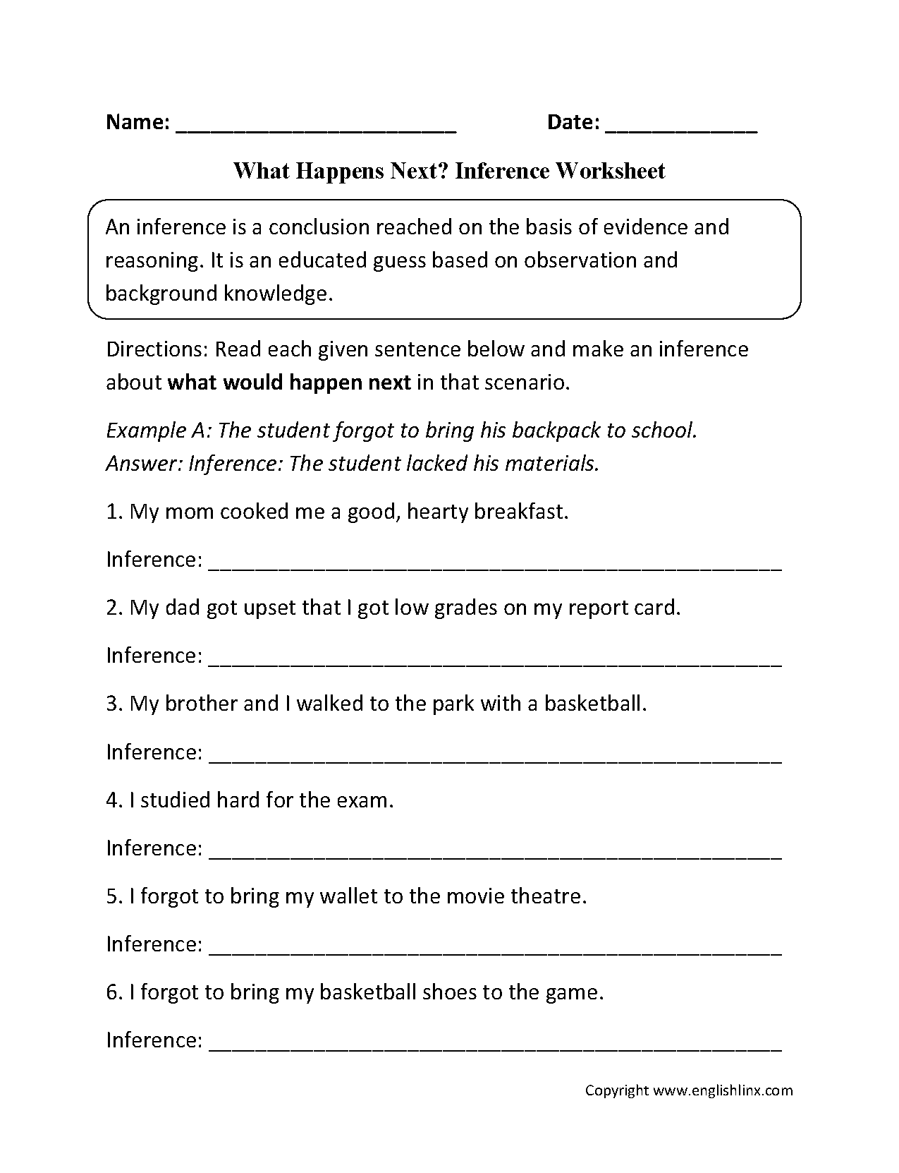 Inference Worksheet Second Grade