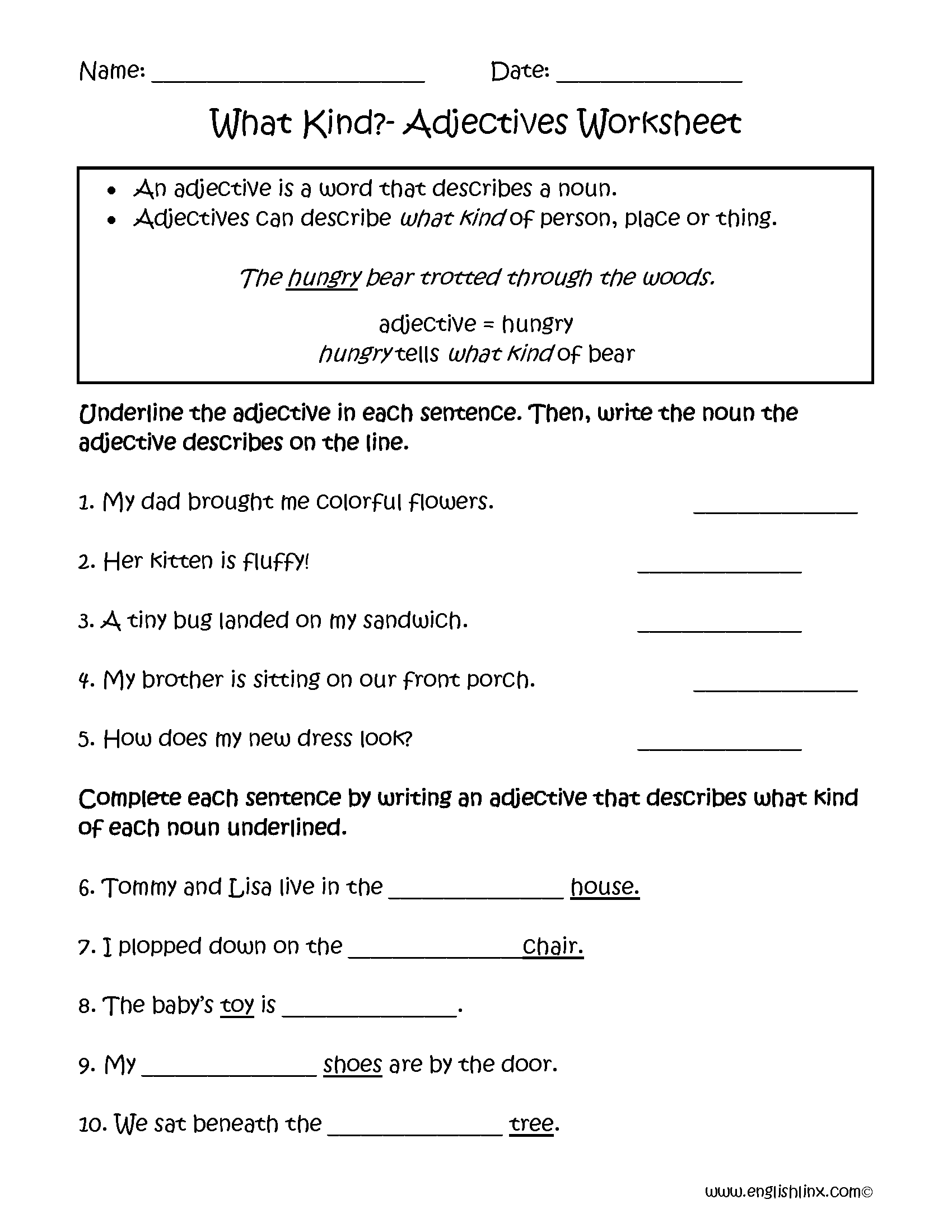 Adjective Worksheets For Middle School