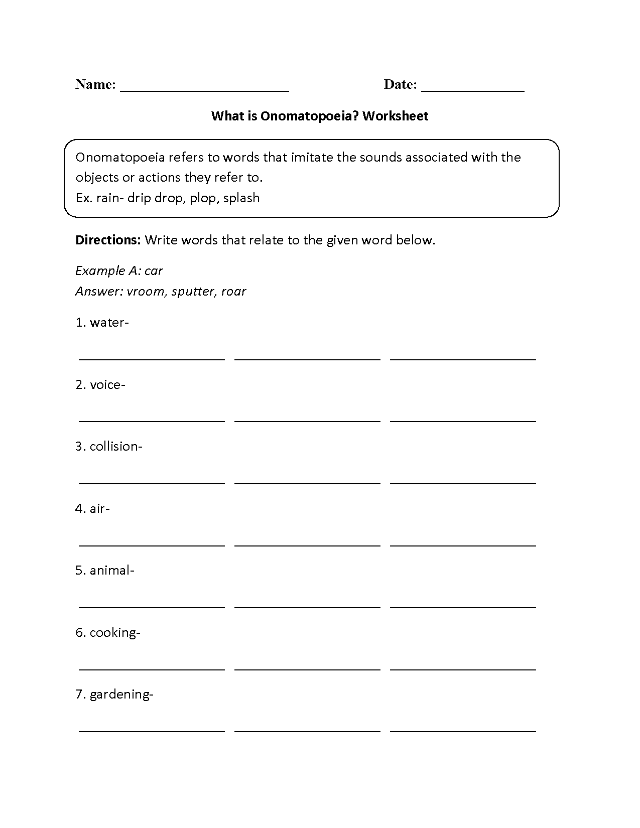 Onomotopia Worksheet
