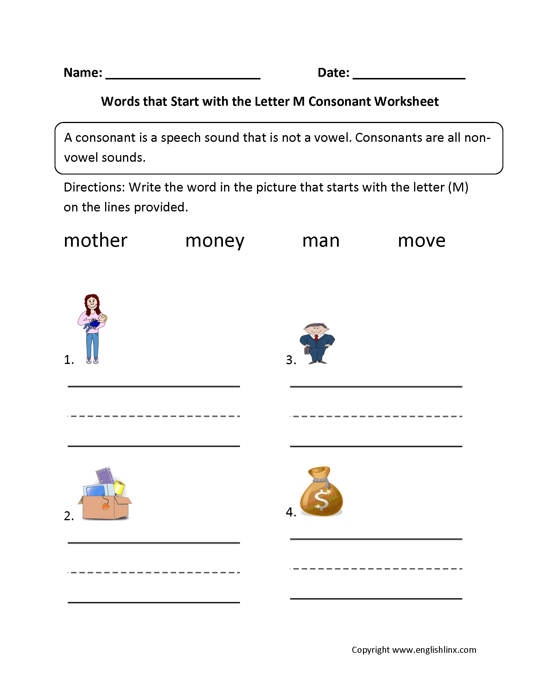 Consonant M Worksheet With