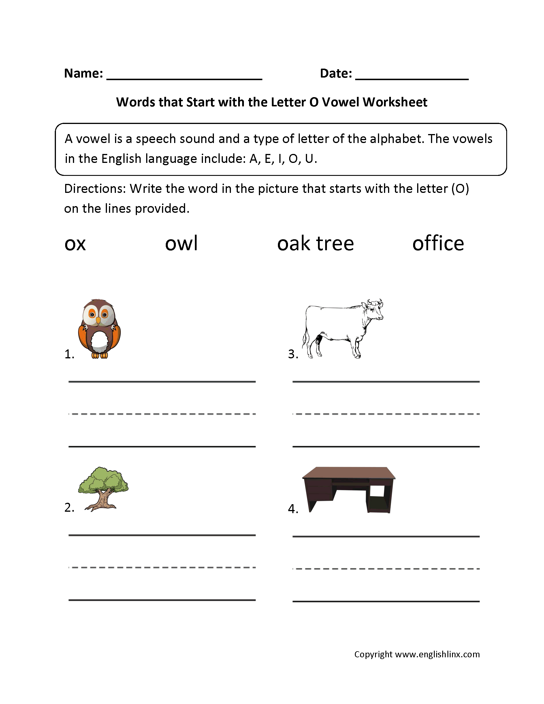 Vowel Worksheets