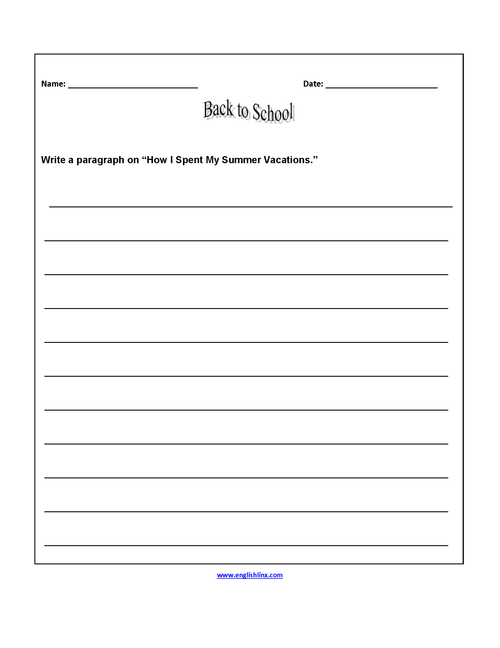 Paragraph Worksheet 6th