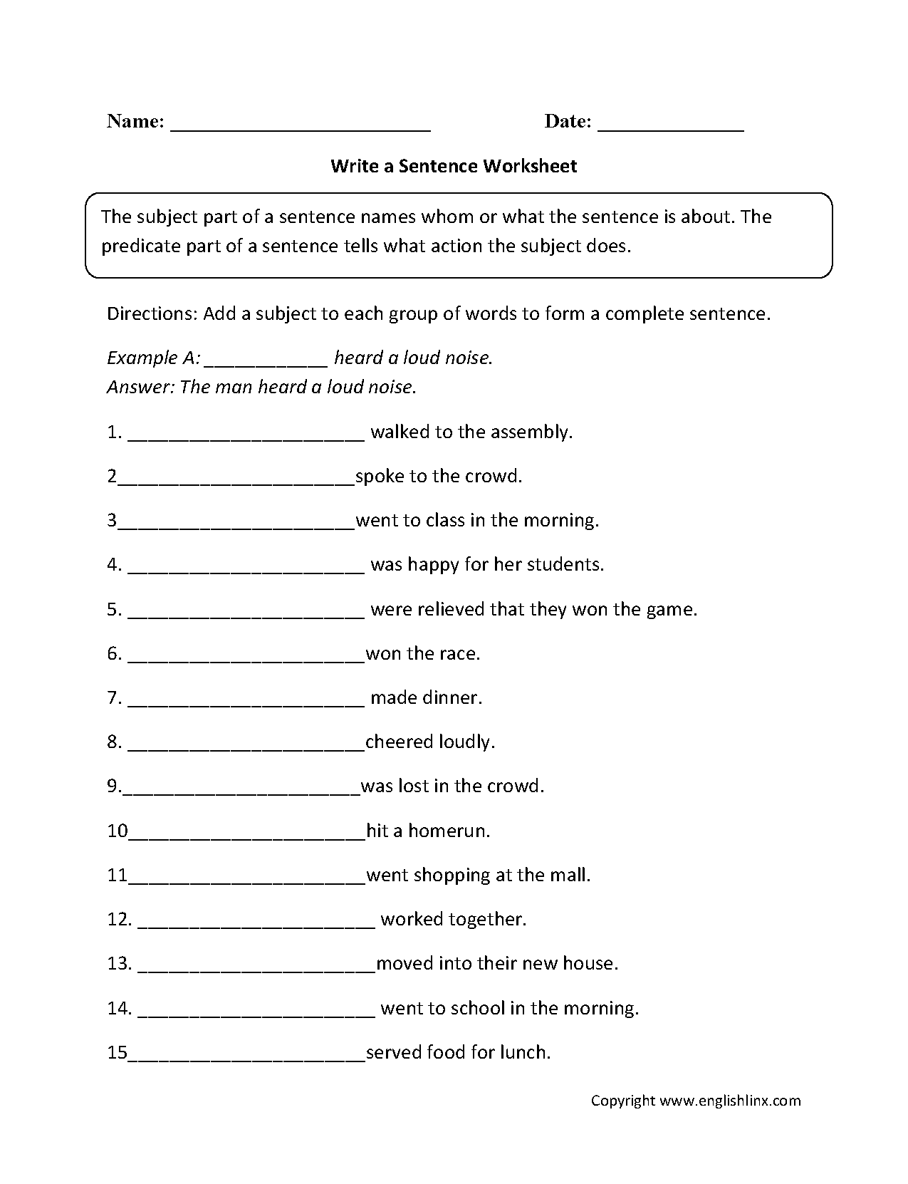 Basic Sentence Structure Exercises