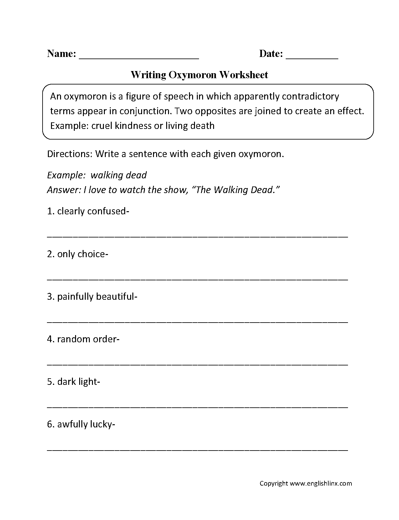 Figurative Language Worksheets