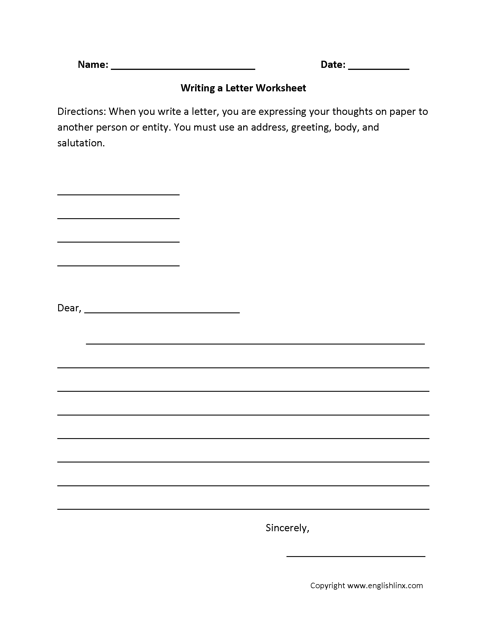Writing A Letter Worksheets