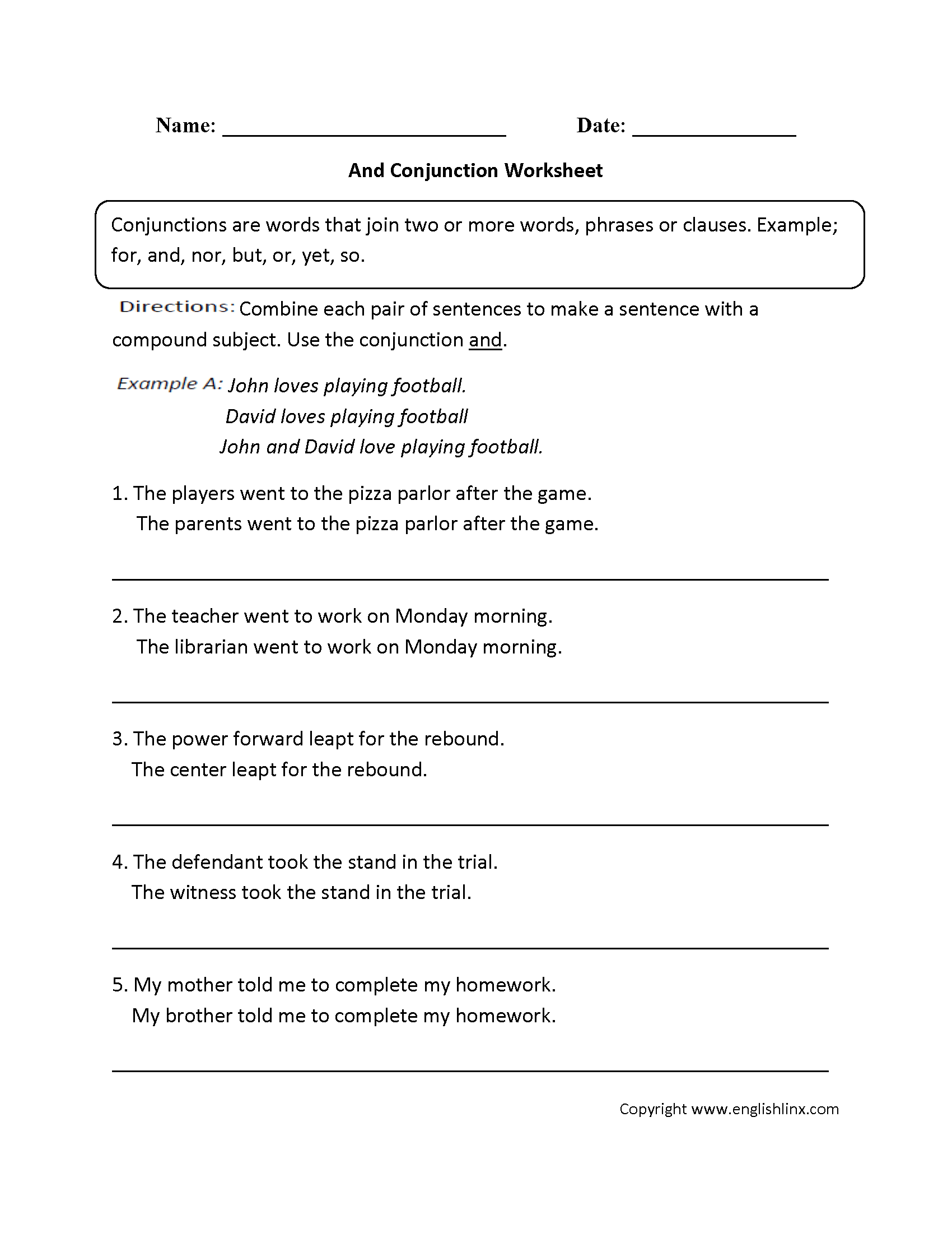 Conjunctions And Prepositions Worksheets