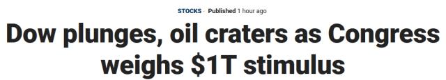 US 1 trillion stimulus over coronavirus stupidity