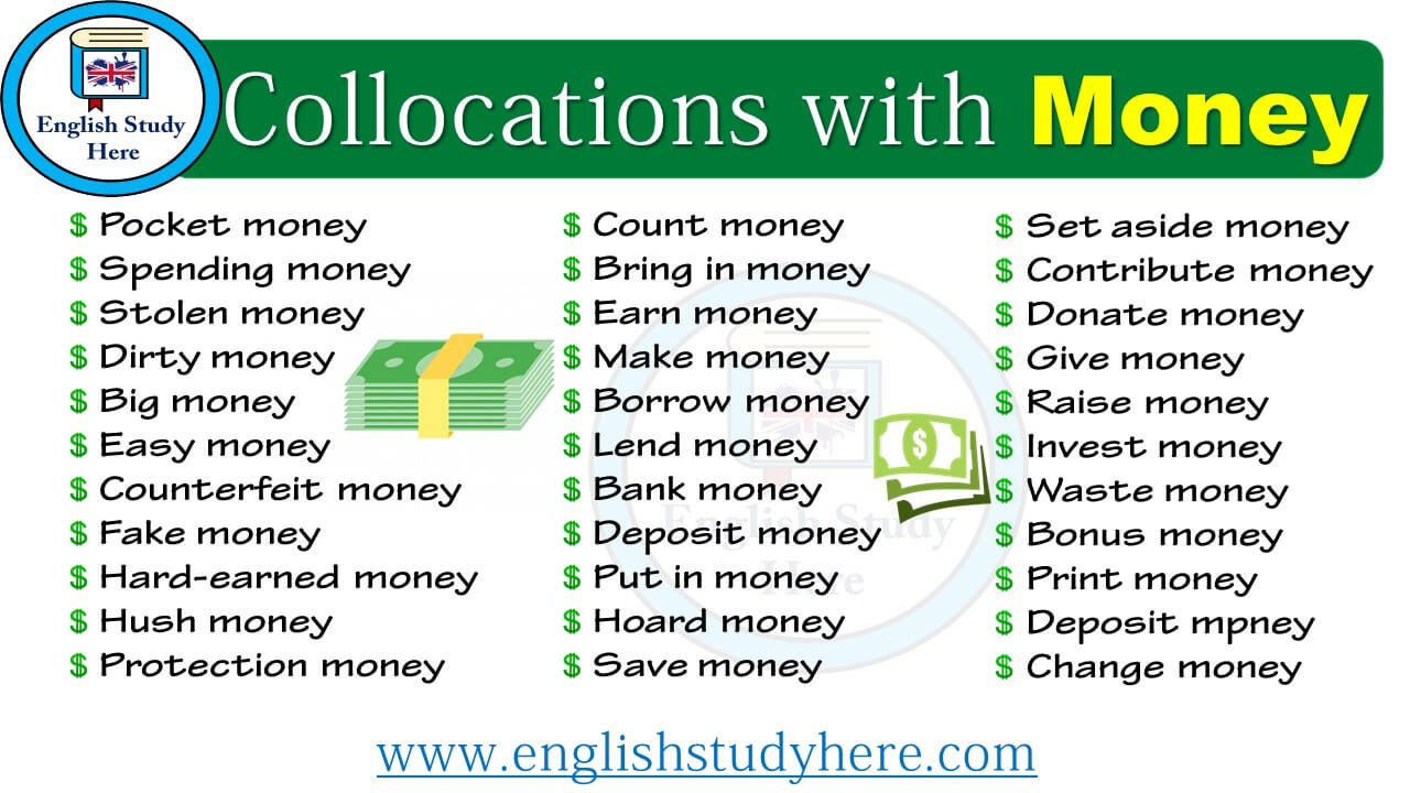 Collocations With Money English Study Here
