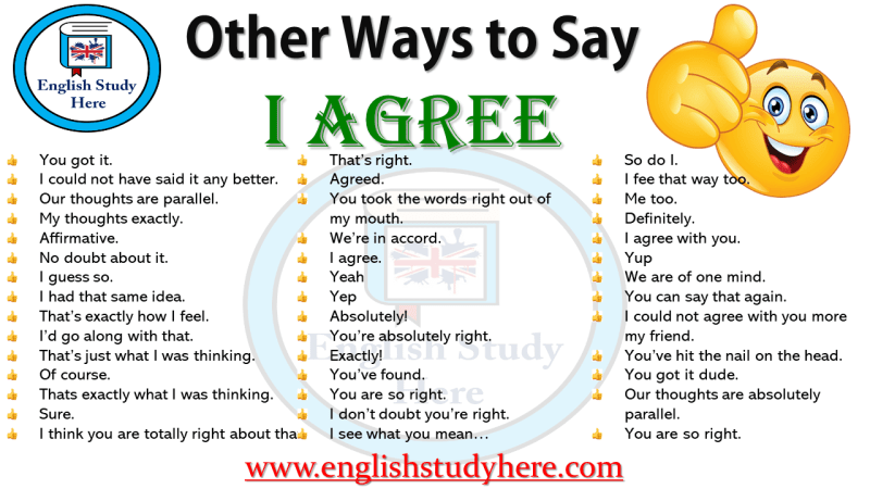 Other Ways to Say  I AGREE