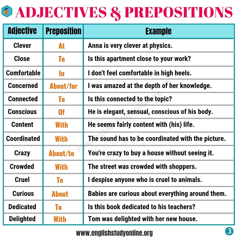 Preposition Worksheet Examples