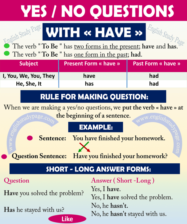 Yes No Questions With HAVE - English Study Page