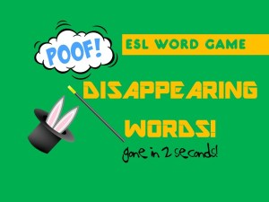 ESL Warm Up Activities   - Disappearing Words Game