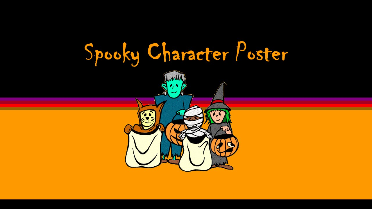 spooky halloween character poster