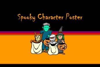 spooky halloween character poster