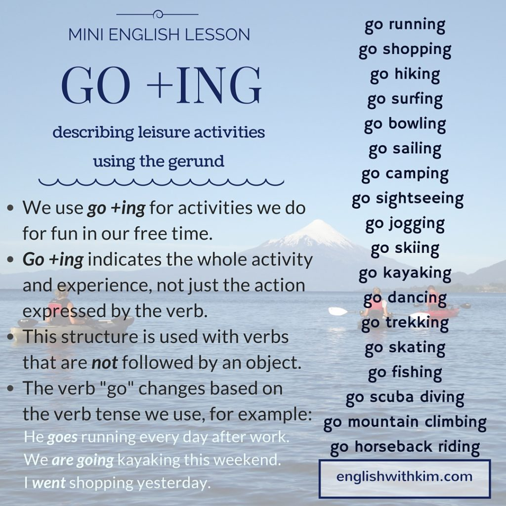 How To Use Go Ing The Gerund To Describe Fun Activities English With Kim