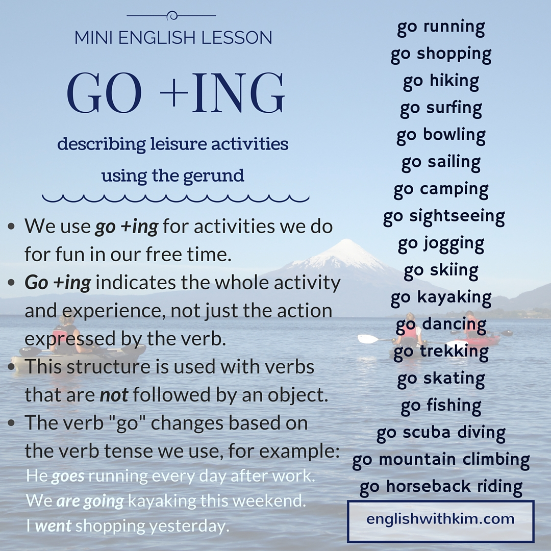 How To Use Go Ing The Gerund To Describe Fun Activities