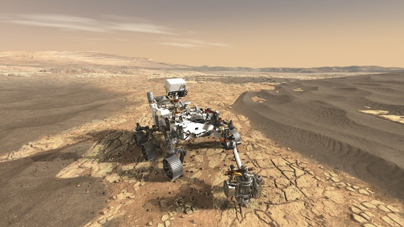 This illustration depicts NASA's Mars 2020 rover on the surface of Mars. The mission, targeted for launch in July or August 2020, takes the next step by not only seeking signs of habitable conditions on Mars in the ancient past, but also searching for signs of past microbial life itself.