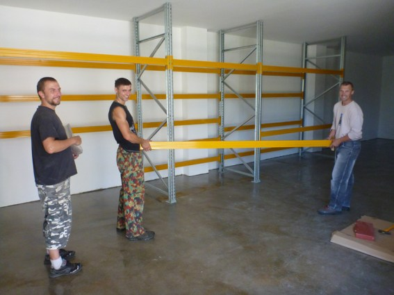 Our staff is getting ready a new warehouse space for storing new paddle blades.