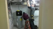 The water heater.