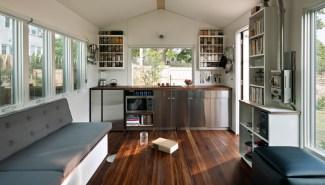 Full-width kitchen.