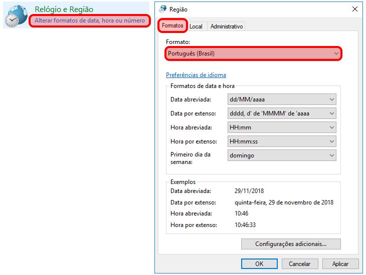 Configuração Região Windows