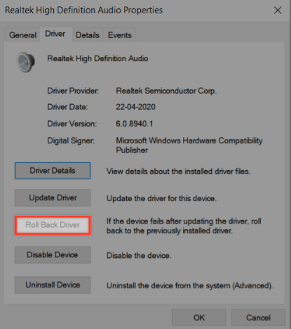 rollback audio driver to previous version to fix no audio issue