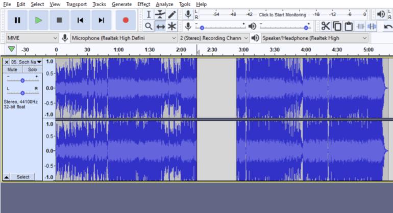 split audio example