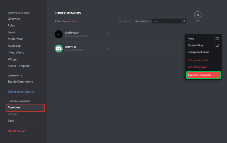 steps to transfer discord server ownership