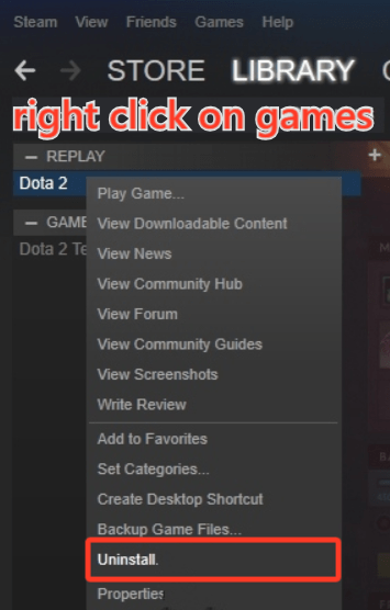 how to delete games from Steam