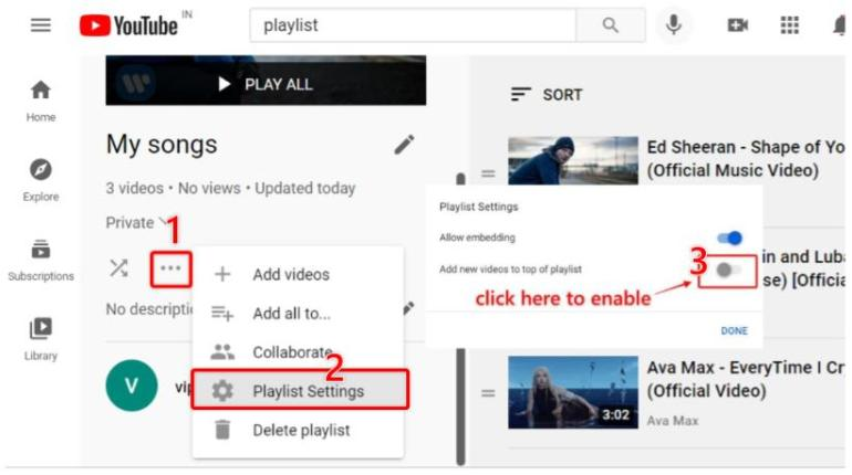 steps to reverse youtube playlist