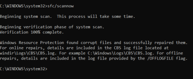 steps to perform sfc scan using command prompt