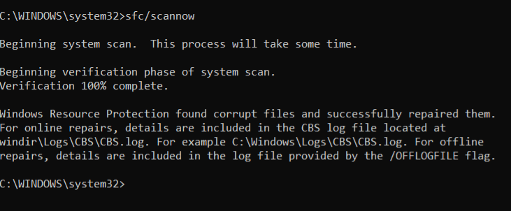 sfc command to fix System Thread Exception Not Handled Error Fixed