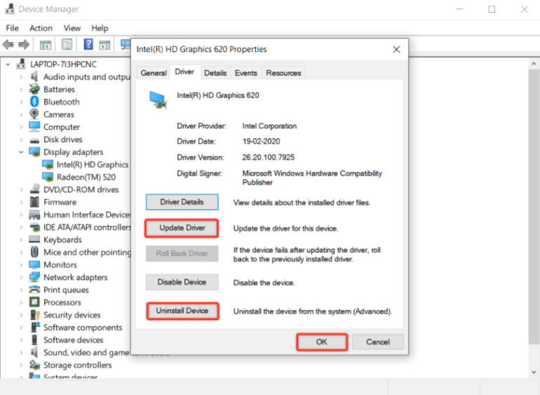 how to update, rollback, uninstall driver on Windows