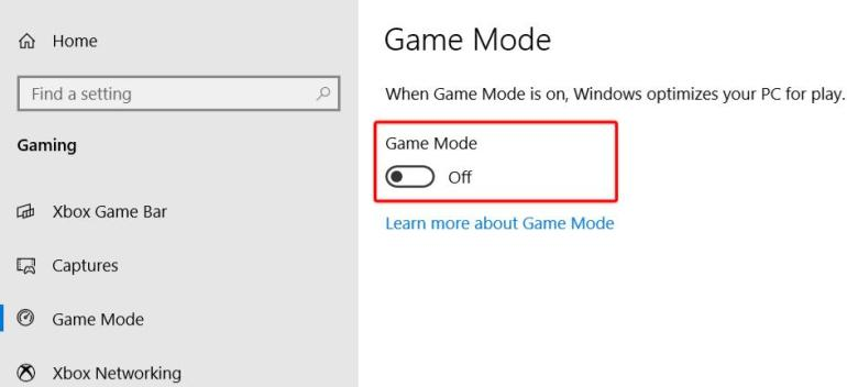 easy steps to disable game mode in Windows