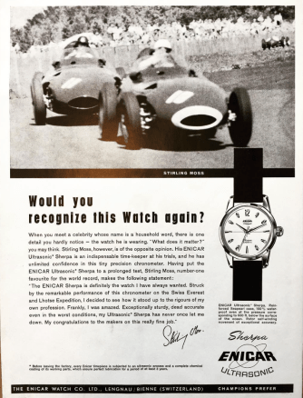 Stirling Moss was very fond of his Enicar, he claims.