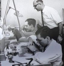 Heinz Rollier (front) and an Heuer movement.
