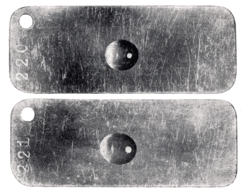 Right: oil on a metal surface after the epimalising process (top: day one, bottom: after 30 days).