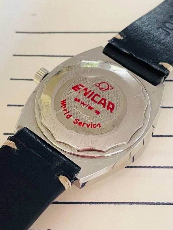 Enicar blue dial watch caseback