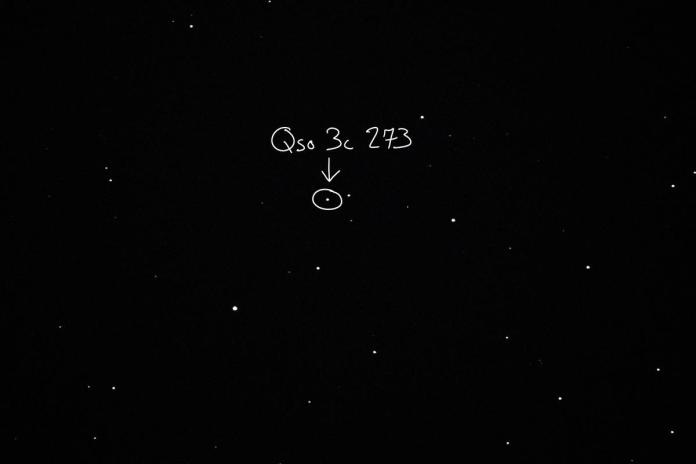 QSO 3C 273 as viewed from an 8'' Celestron telescope in Enid, Oklahoma. Photo by Patrick Wine