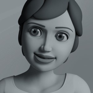 black and white rendered image of Azar with Render Man
