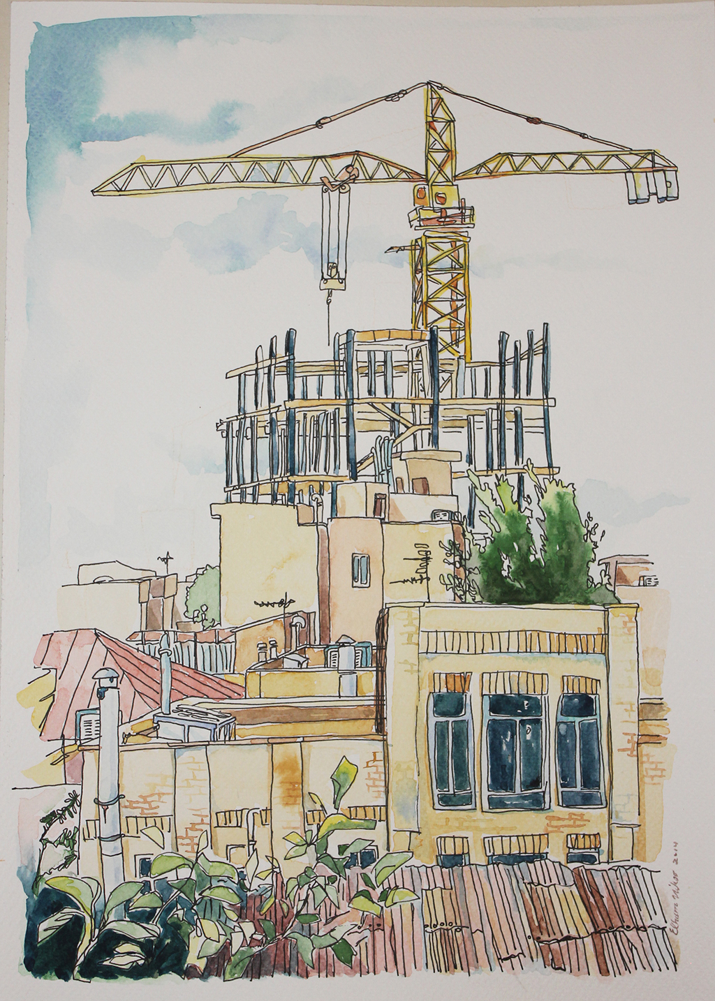 Water color and pen illustration of my window's view in Tehran