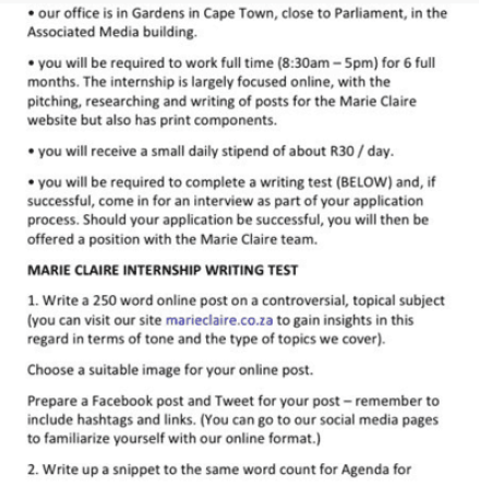 Marie Claire Contract
