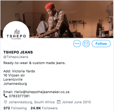 Tshepo the Jean Maker's Twitter followers | 29 august 2019