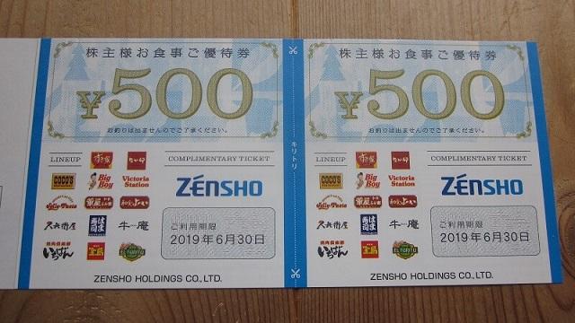 ゼンショー「株主様お食事ご優待券(500円券)」