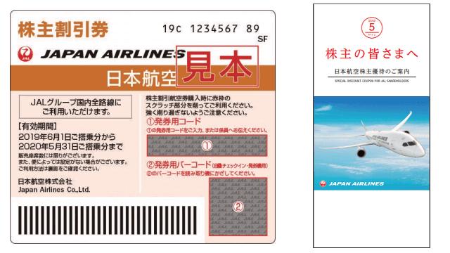 日本航空の株主優待「株主割引券」と「しおり」