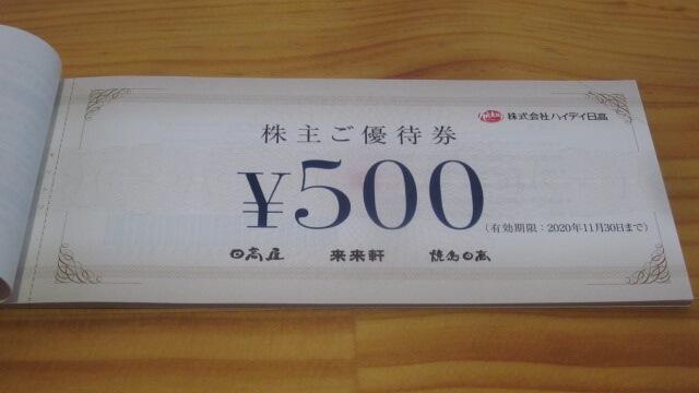 ハイデイ日高の「株主ご優待券」