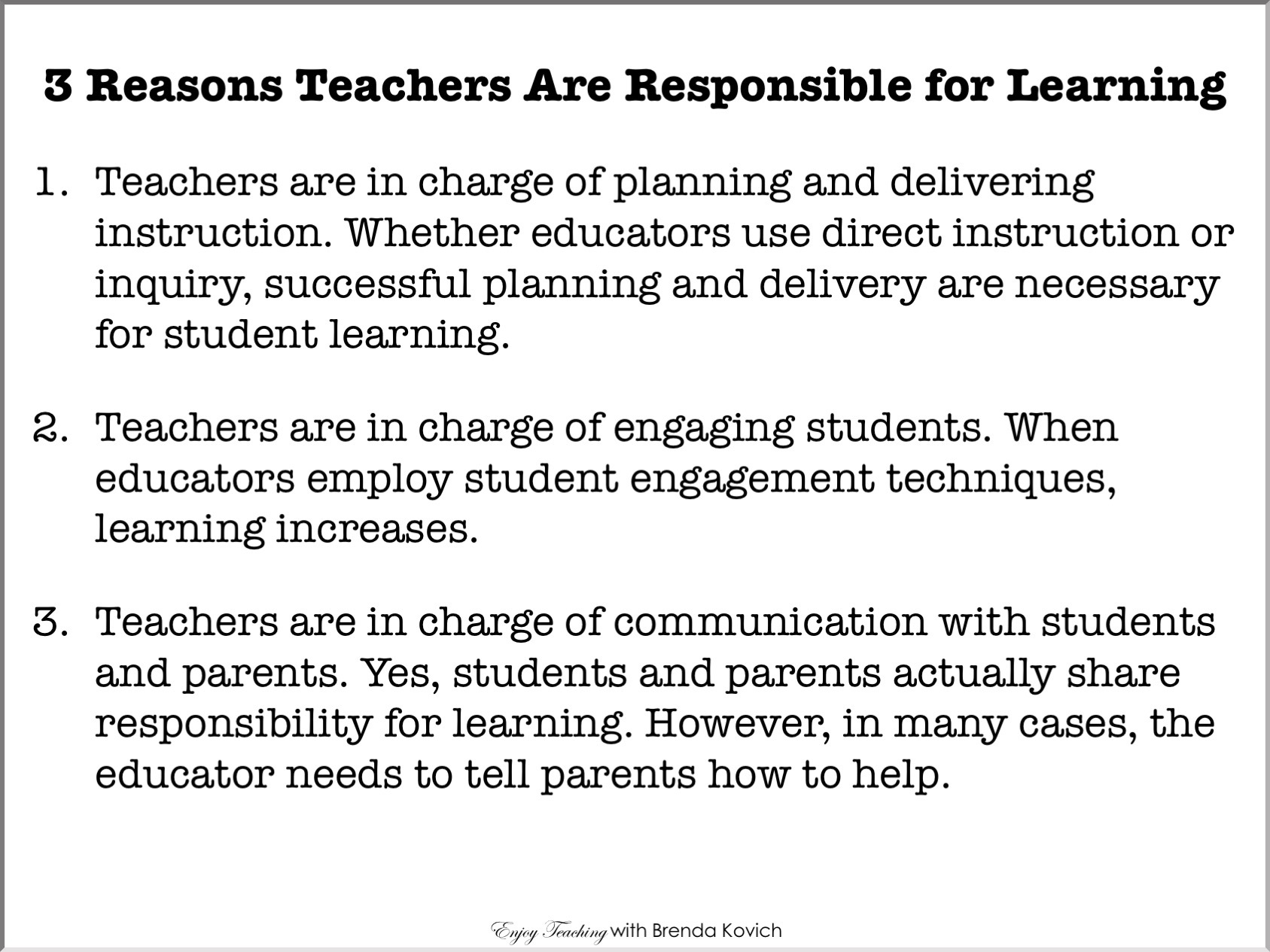 Teachers Are Ultimately Responsible For Student Learning