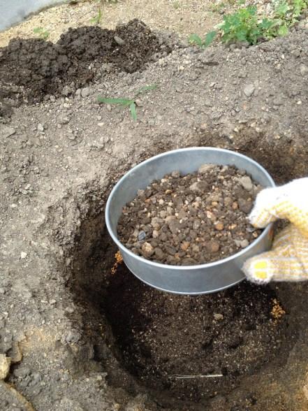 10掘り上げた土をふるいに